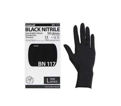 Перчатки нитриловые MANUAL черные (50 пар)